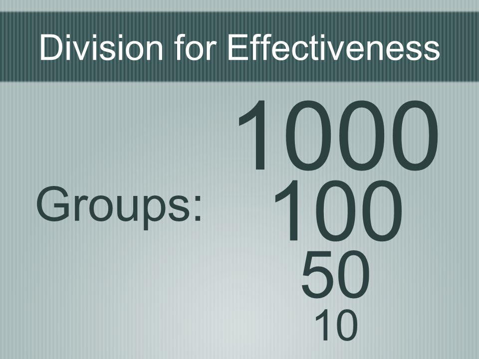 Division for Effectiveness