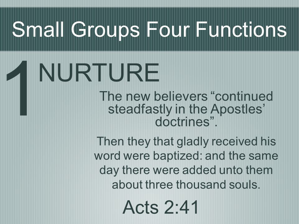 1 NURTURE Small Groups Four Functions Acts 2:41