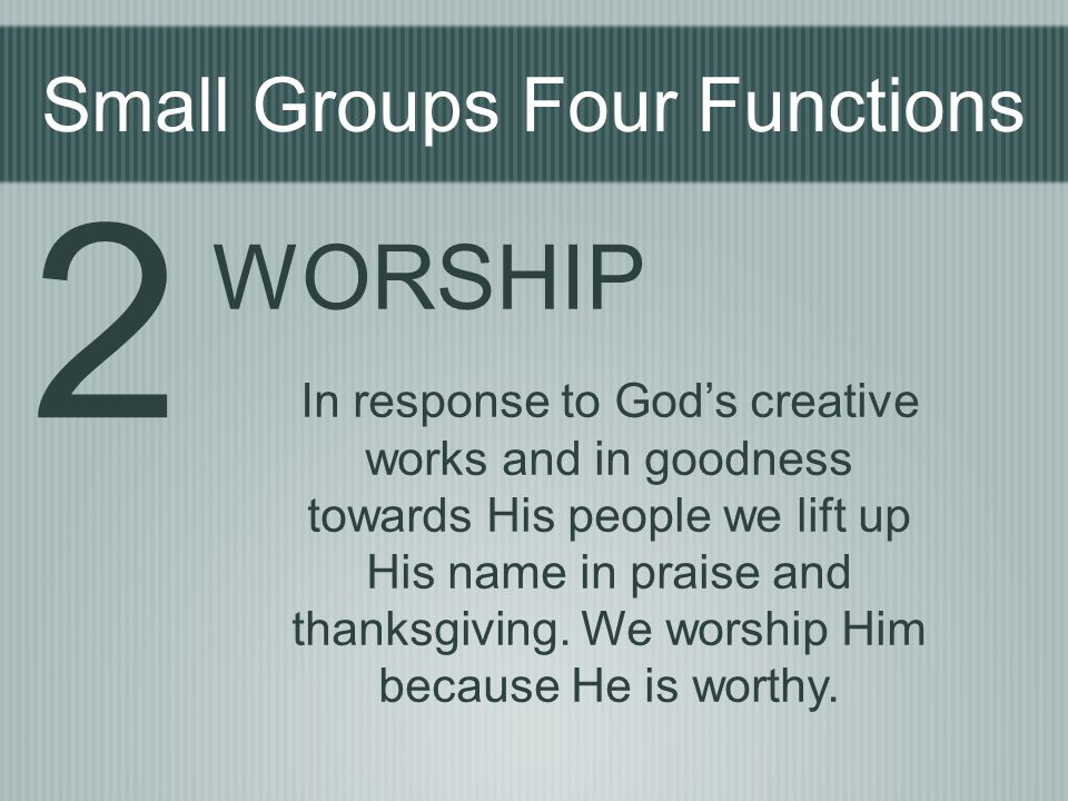 Small Groups Four Functions