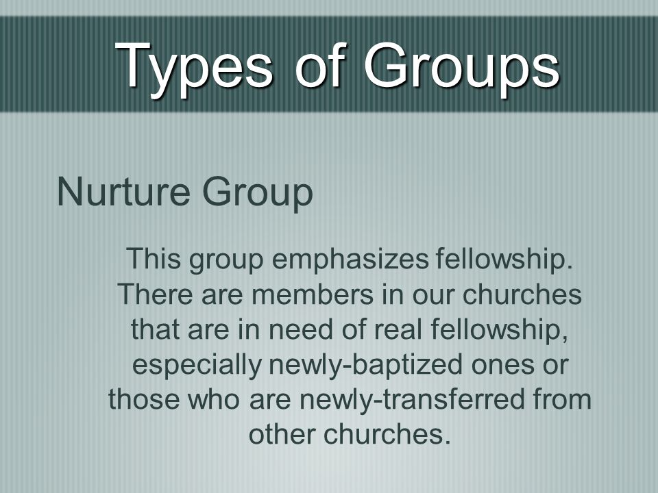 Types of Groups Nurture Group