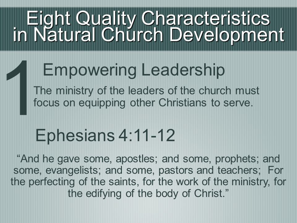 1 Eight Quality Characteristics in Natural Church Development