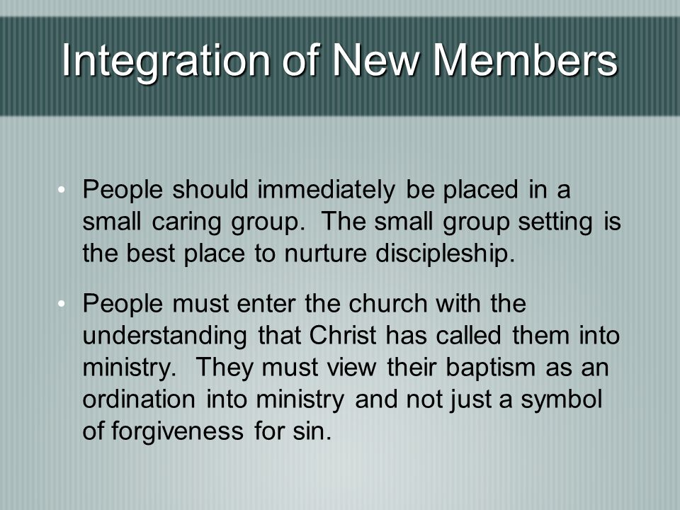 Integration of New Members
