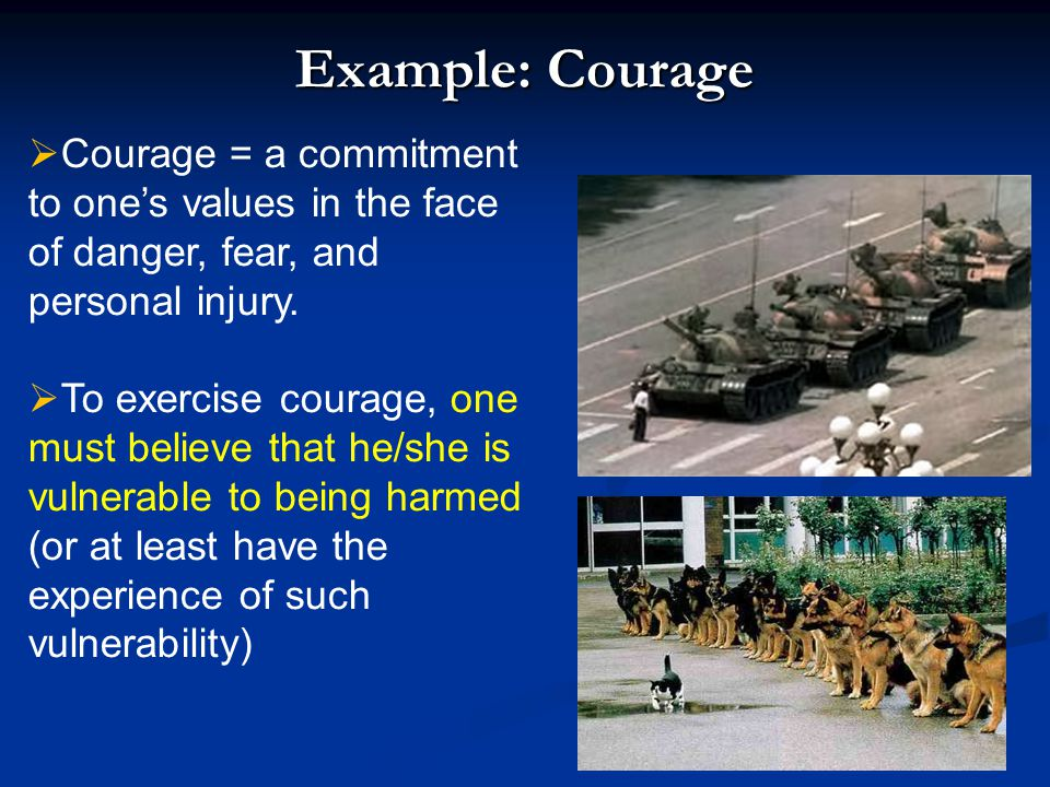 Example: Courage Courage = a commitment to one's values in the face of danger, fear, and personal injury.