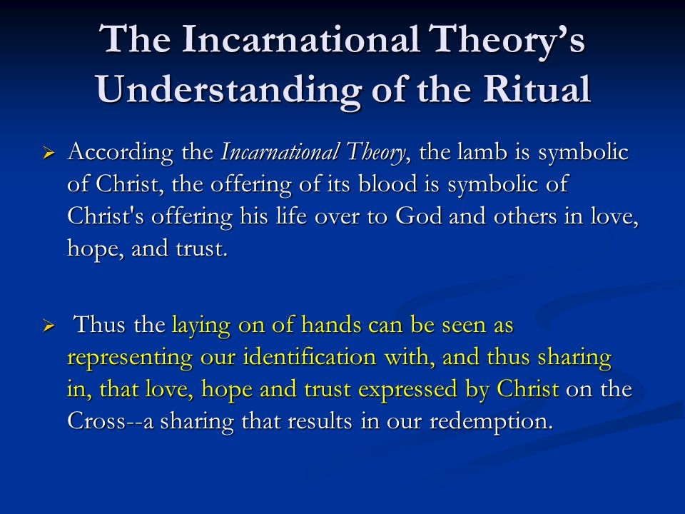 The Incarnational Theory's Understanding of the Ritual