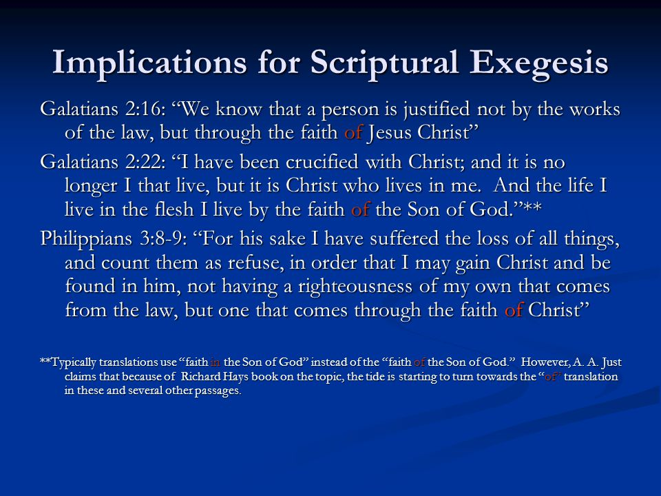 Implications for Scriptural Exegesis