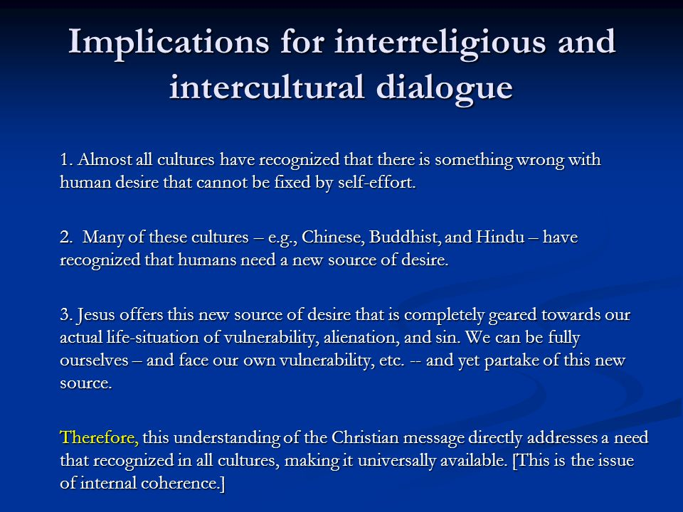 Implications for interreligious and intercultural dialogue