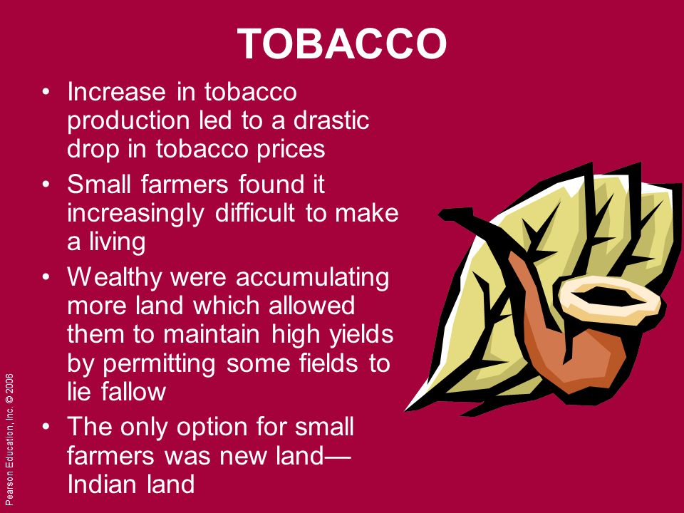 TOBACCO Increase in tobacco production led to a drastic drop in tobacco prices. Small farmers found it increasingly difficult to make a living.