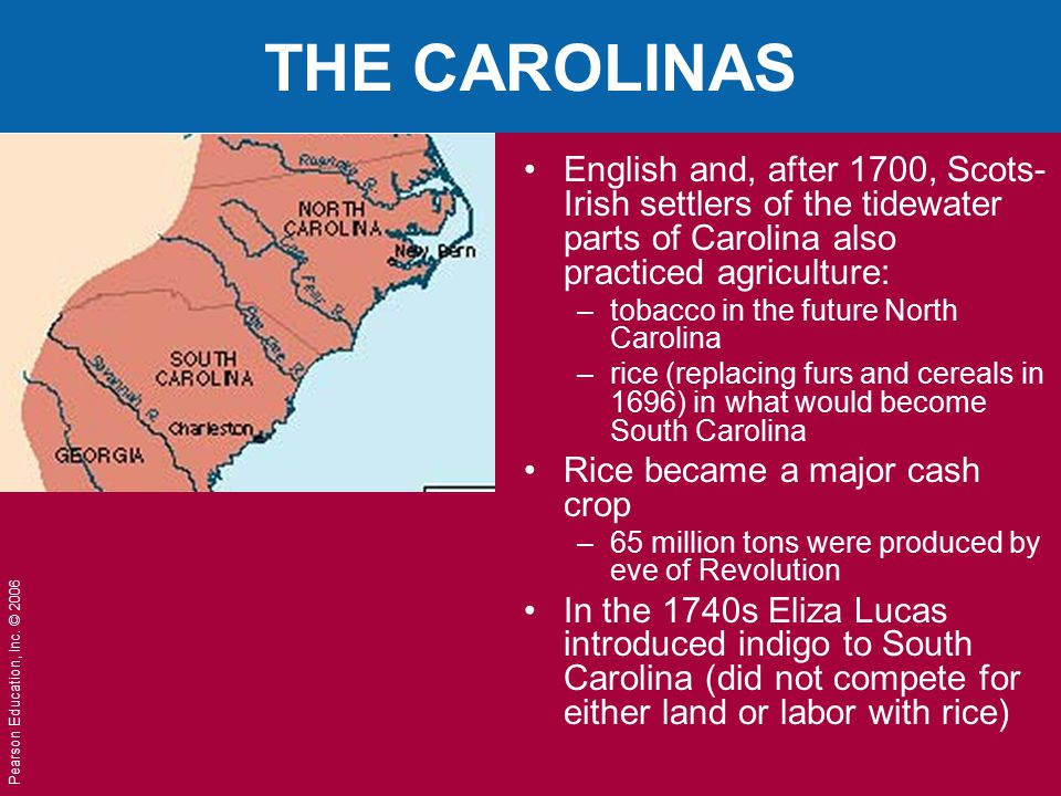 THE CAROLINAS English and, after 1700, Scots-Irish settlers of the tidewater parts of Carolina also practiced agriculture: