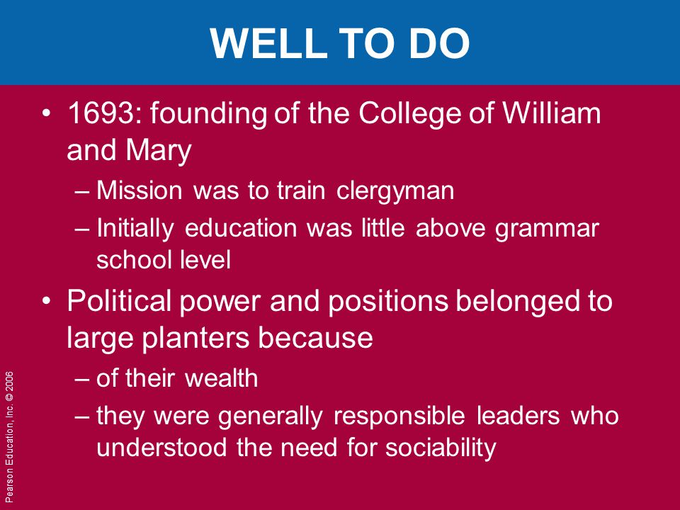 WELL TO DO 1693: founding of the College of William and Mary