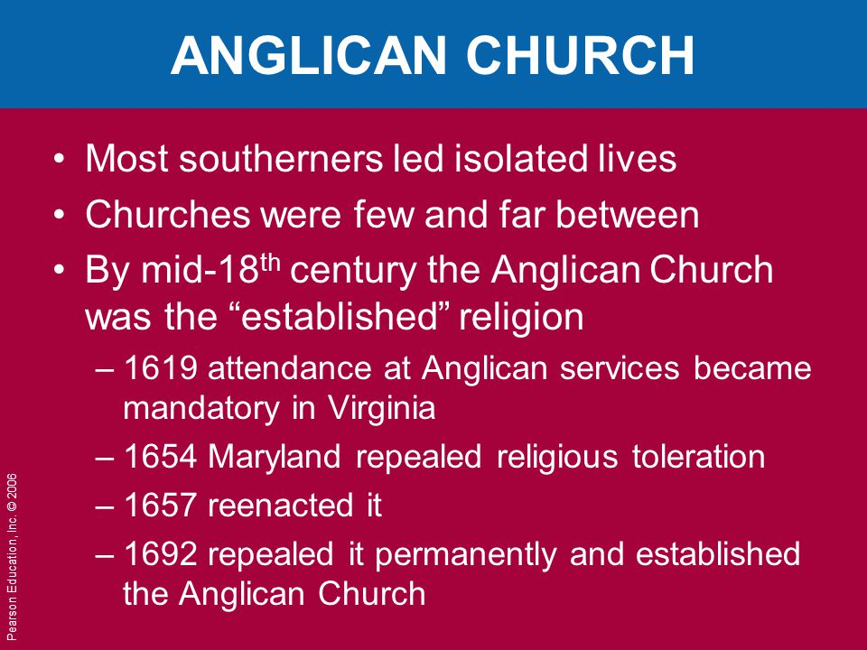 ANGLICAN CHURCH Most southerners led isolated lives
