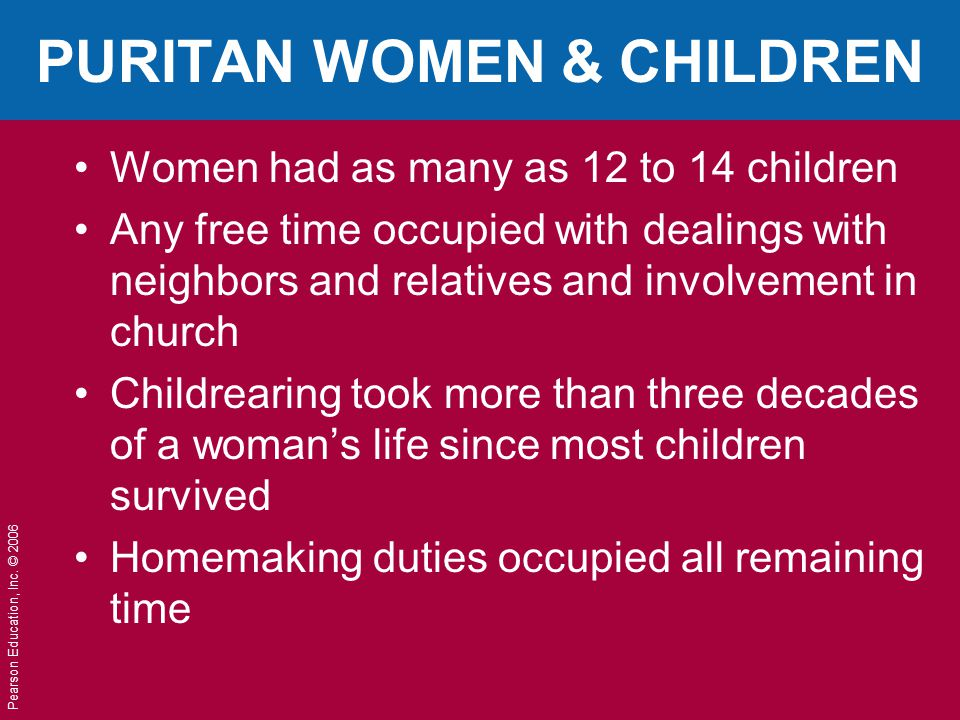 PURITAN WOMEN & CHILDREN