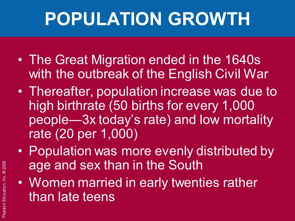 POPULATION GROWTH The Great Migration ended in the 1640s with the outbreak of the English Civil War.