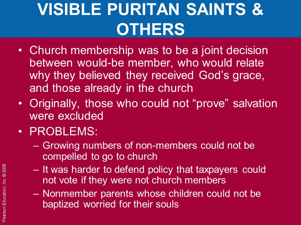 VISIBLE PURITAN SAINTS & OTHERS