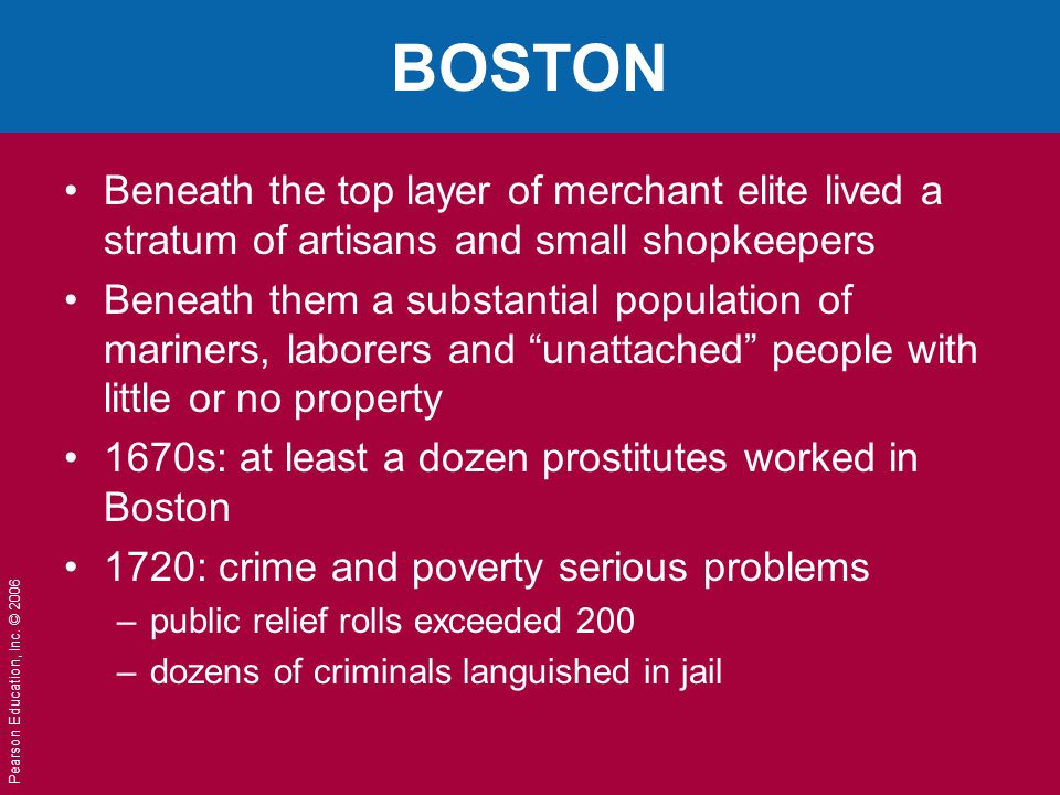 BOSTON Beneath the top layer of merchant elite lived a stratum of artisans and small shopkeepers.