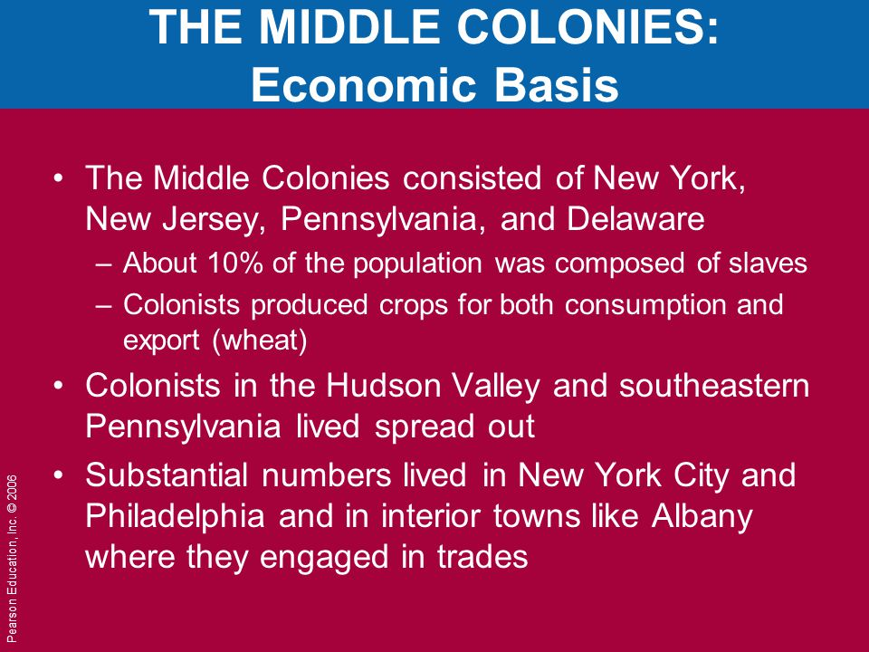THE MIDDLE COLONIES: Economic Basis