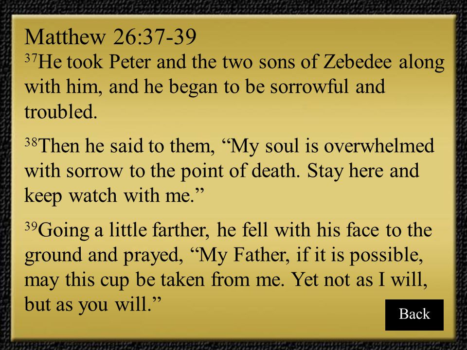 Matthew 26:37-39 37He took Peter and the two sons of Zebedee along with him, and he began to be sorrowful and troubled.