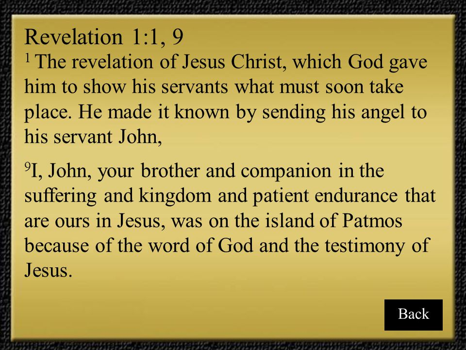 Revelation 1:1, 9