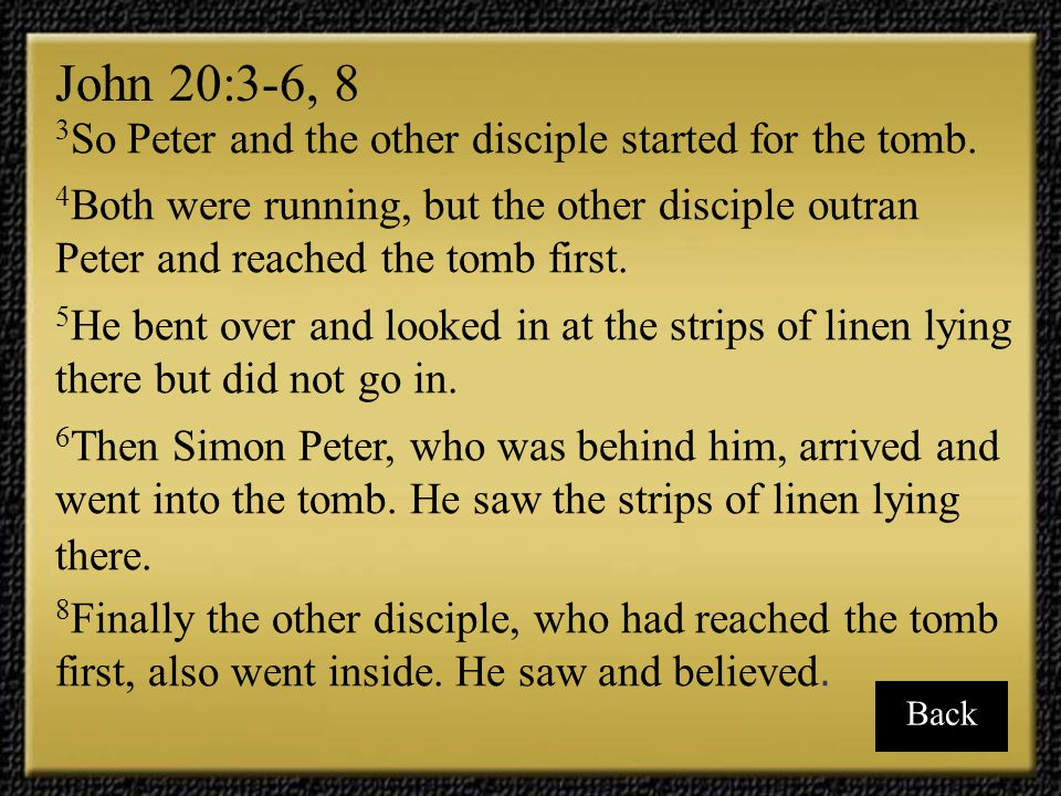 John 20:3-6, 8 3So Peter and the other disciple started for the tomb.