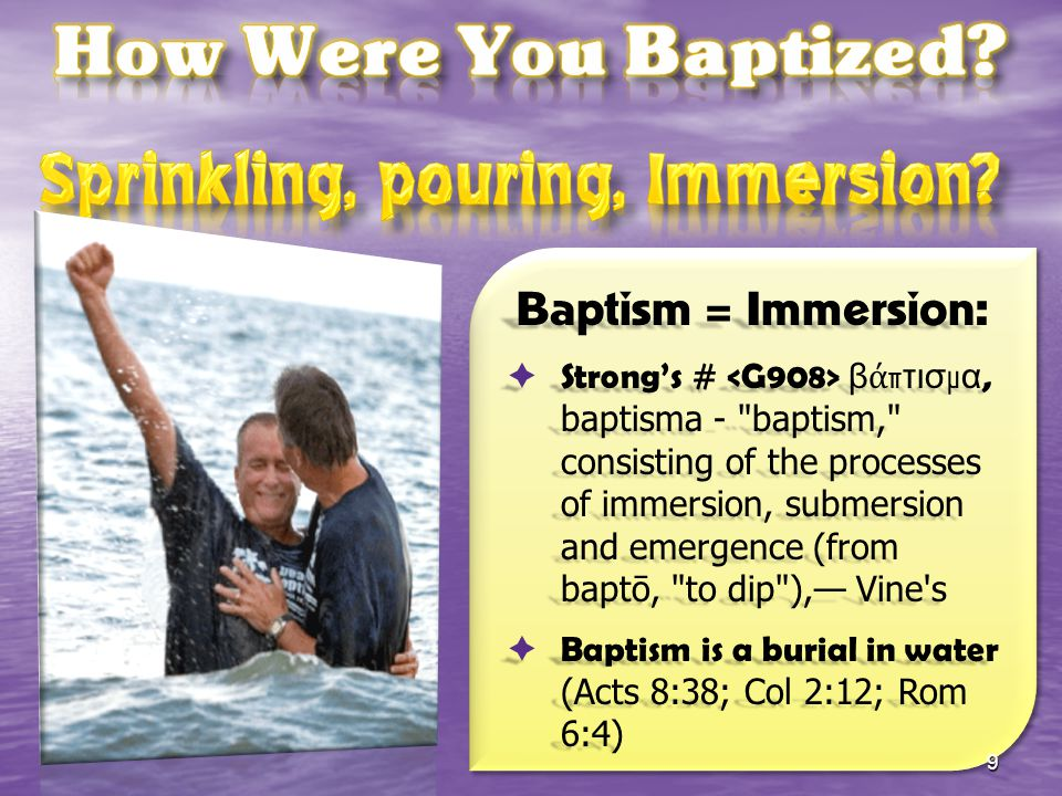 Sprinkling, pouring, Immersion