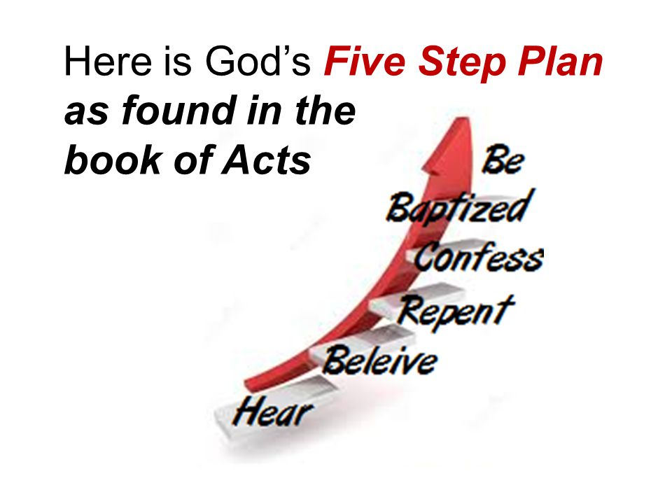 Here is God's Five Step Plan as found in the book of Acts