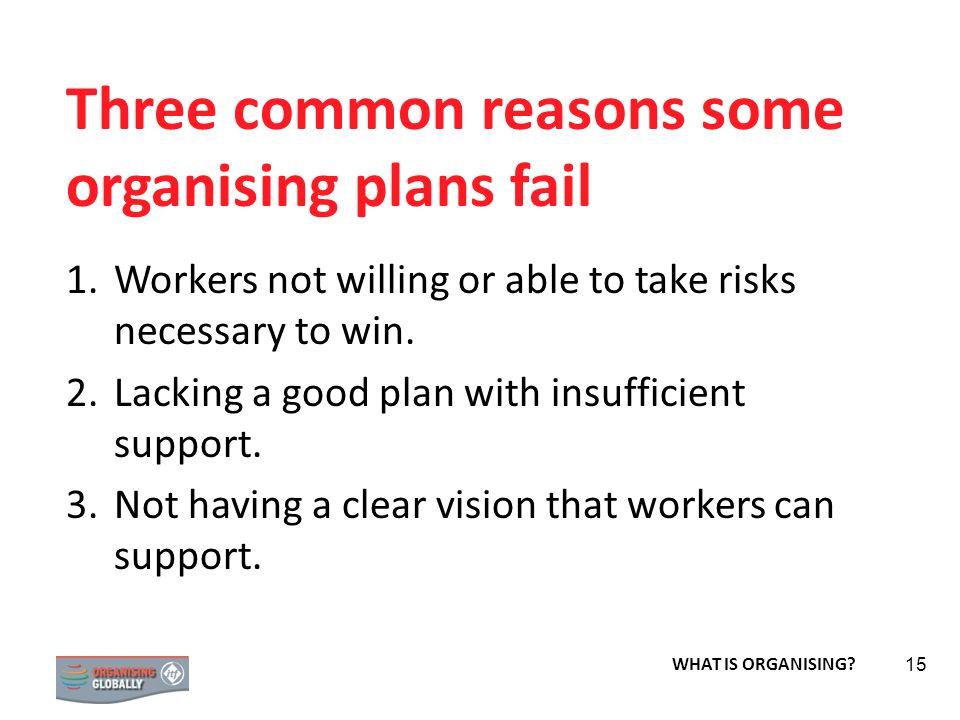 Three common reasons some organising plans fail