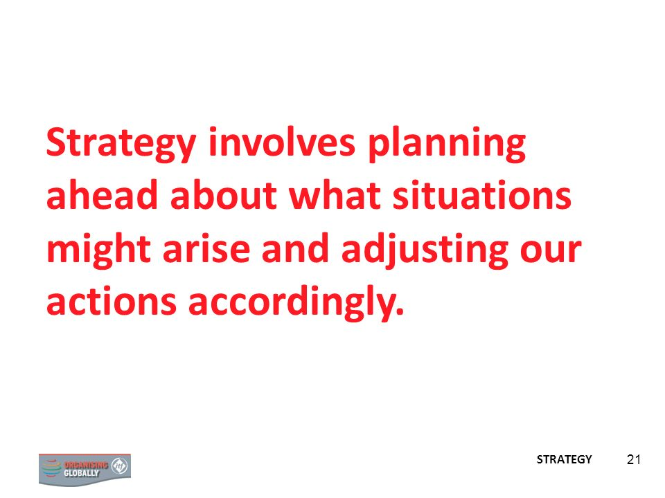 Strategy involves planning ahead about what situations might arise and adjusting our actions accordingly.