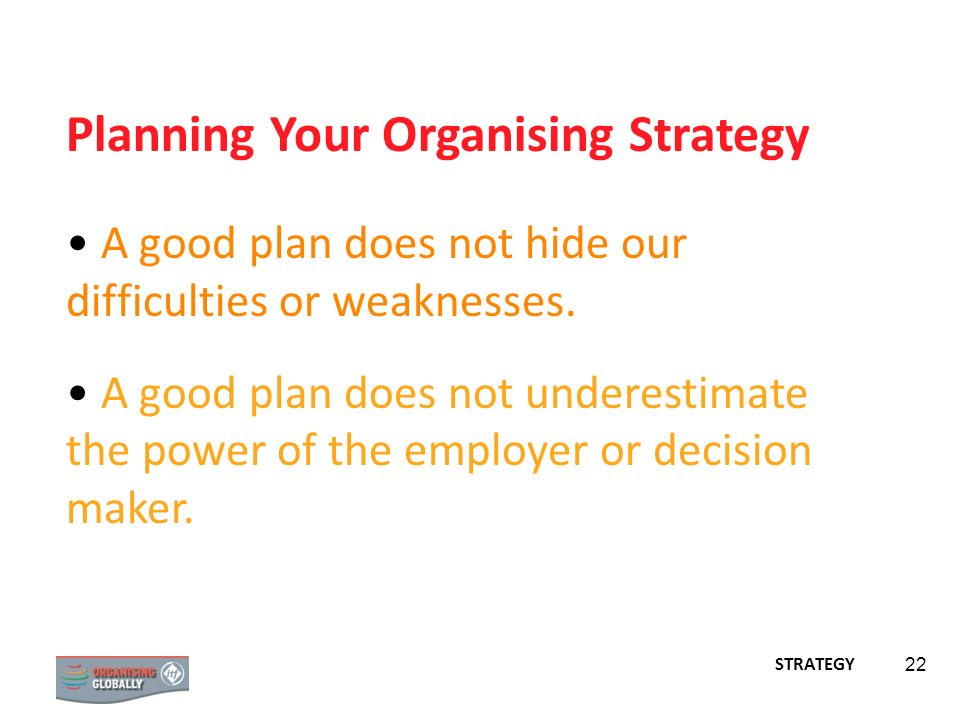 Planning Your Organising Strategy
