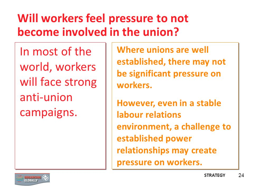Will workers feel pressure to not become involved in the union