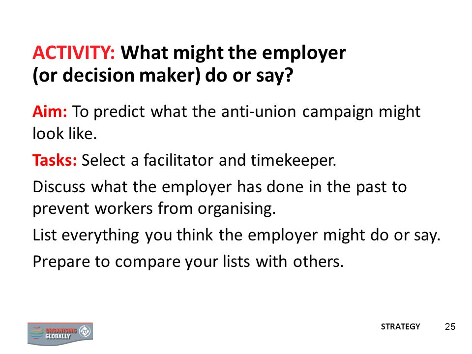 ACTIVITY: What might the employer (or decision maker) do or say