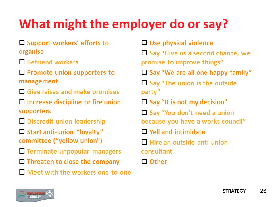 What might the employer do or say