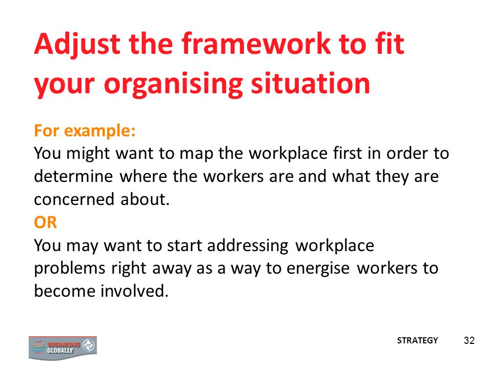 Adjust the framework to fit your organising situation