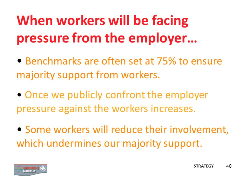 When workers will be facing pressure from the employer…
