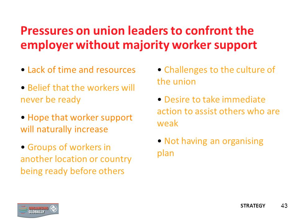 Pressures on union leaders to confront the employer without majority worker support
