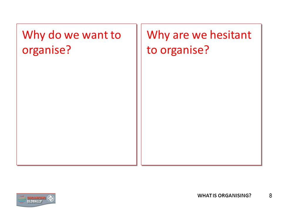 Why do we want to organise Why are we hesitant to organise
