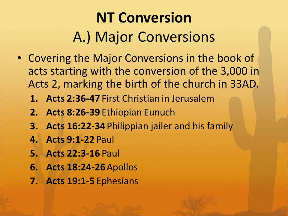 NT Conversion A.) Major Conversions