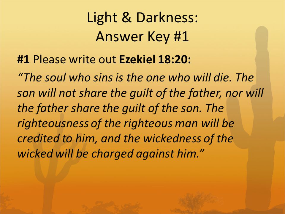 Light & Darkness: Answer Key #1