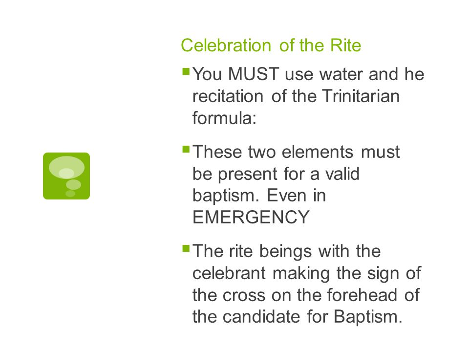 Celebration of the Rite