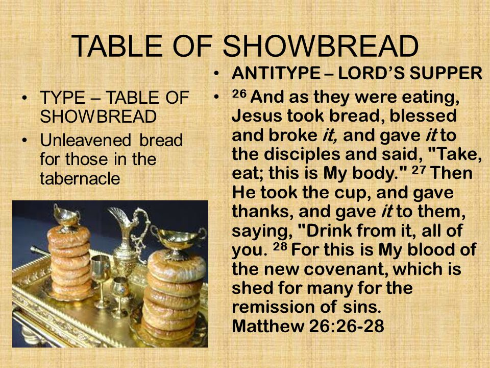 TABLE OF SHOWBREAD ANTITYPE – LORD'S SUPPER