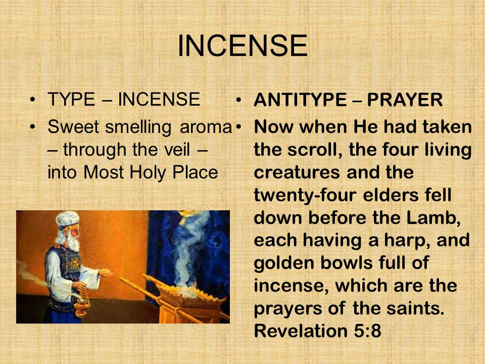 INCENSE TYPE – INCENSE. Sweet smelling aroma – through the veil – into Most Holy Place. ANTITYPE – PRAYER.