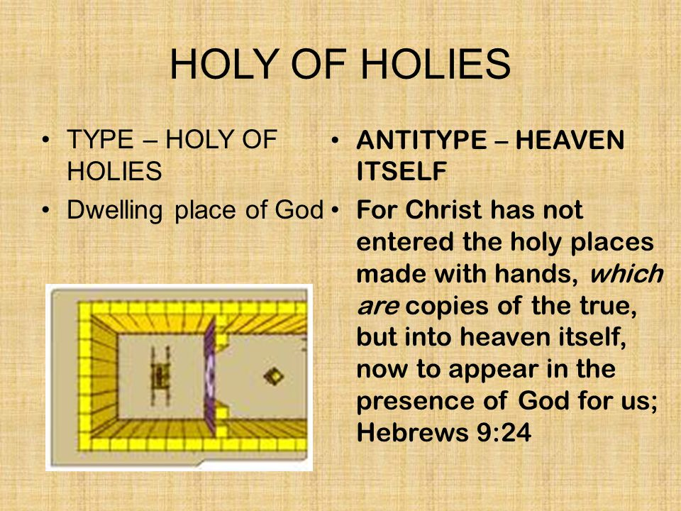HOLY OF HOLIES TYPE – HOLY OF HOLIES Dwelling place of God