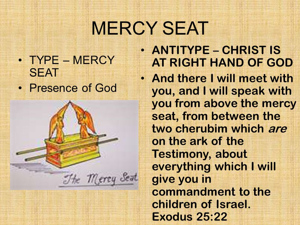MERCY SEAT ANTITYPE – CHRIST IS AT RIGHT HAND OF GOD TYPE – MERCY SEAT
