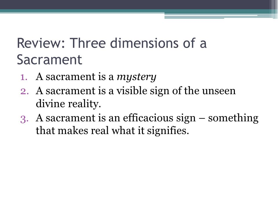 Review: Three dimensions of a Sacrament