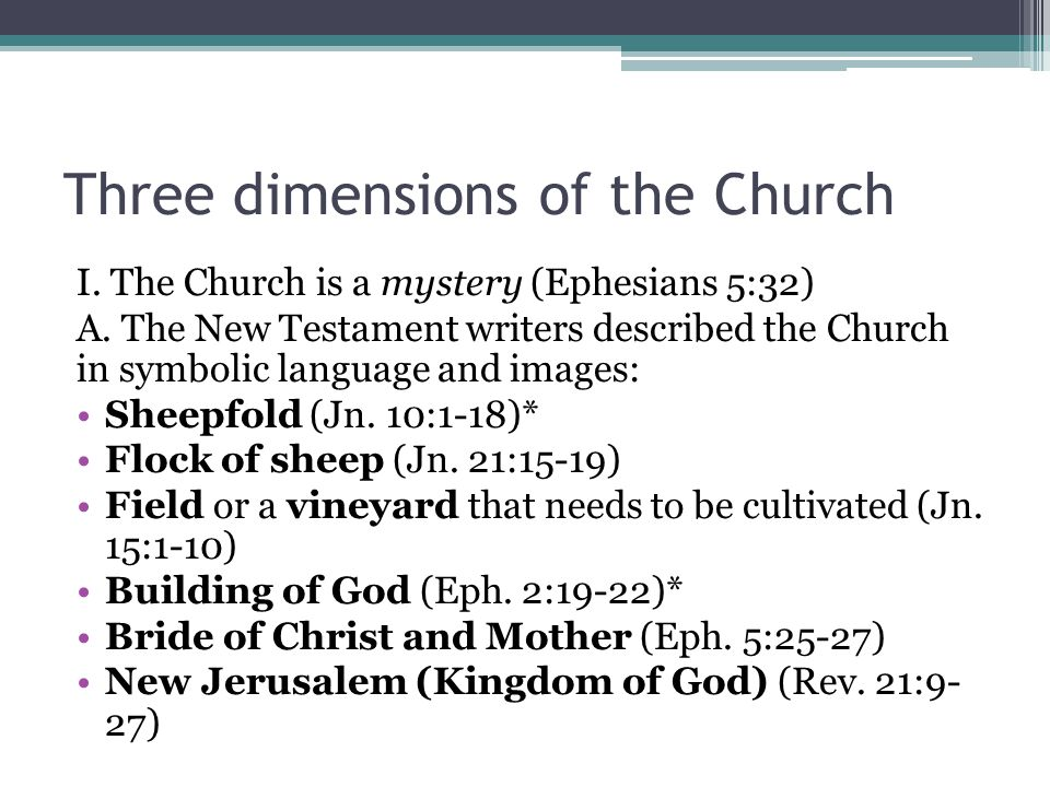 Three dimensions of the Church