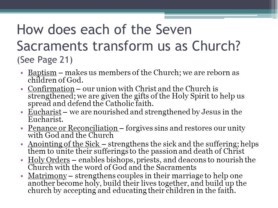 How does each of the Seven Sacraments transform us as Church