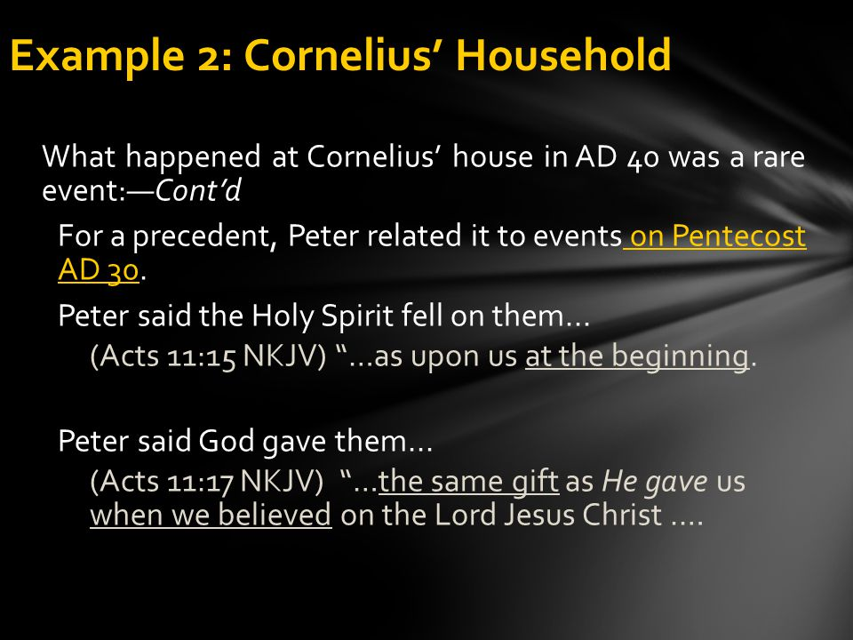 Example 2: Cornelius' Household