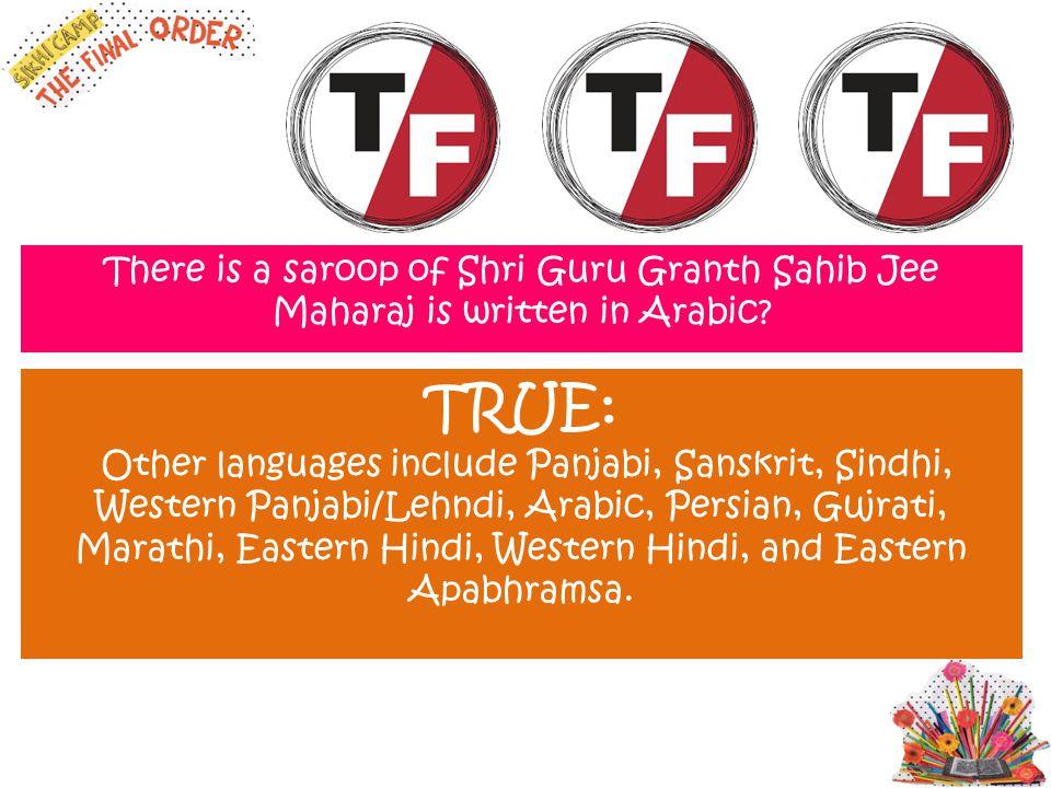 There is a saroop of Shri Guru Granth Sahib Jee Maharaj is written in Arabic