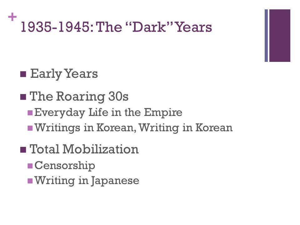 1935-1945: The Dark Years Early Years The Roaring 30s