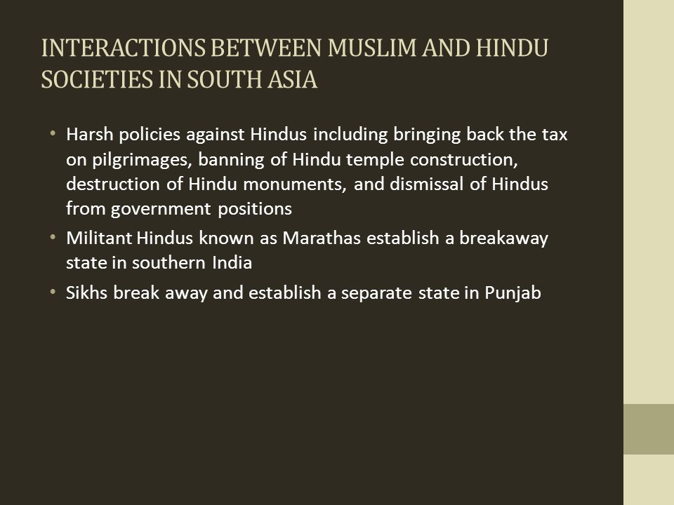 INTERACTIONS BETWEEN MUSLIM AND HINDU SOCIETIES IN SOUTH ASIA
