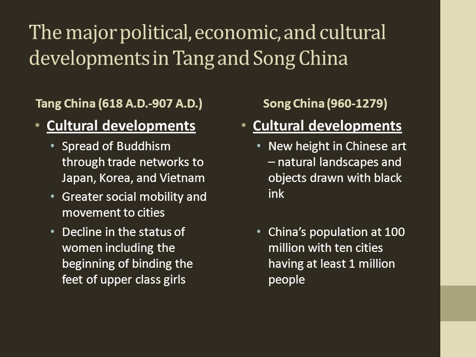 The major political, economic, and cultural developments in Tang and Song China