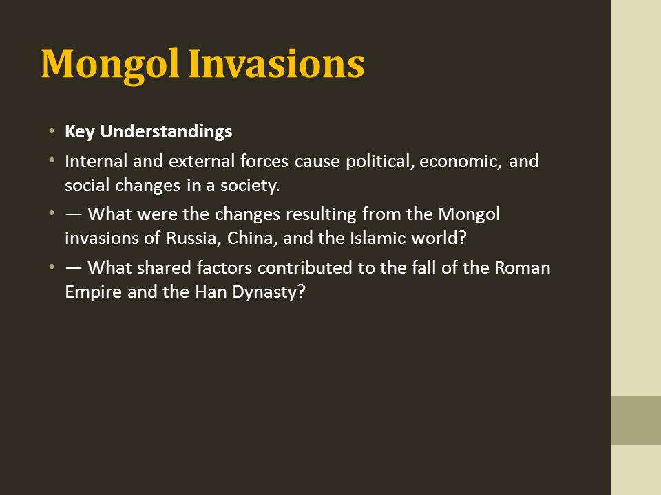 Mongol Invasions Key Understandings